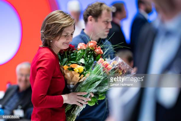 Simone Lange reacts at a federal party congress of the German Social Democrats following the election of Andrea Nahles as new party leader on April...