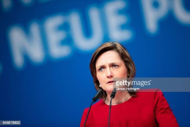 Simone Lange speaks at the SPD federal party congress on April 22 2018 in Wiesbaden Germany Delegates will vote on a new party leader to replace...