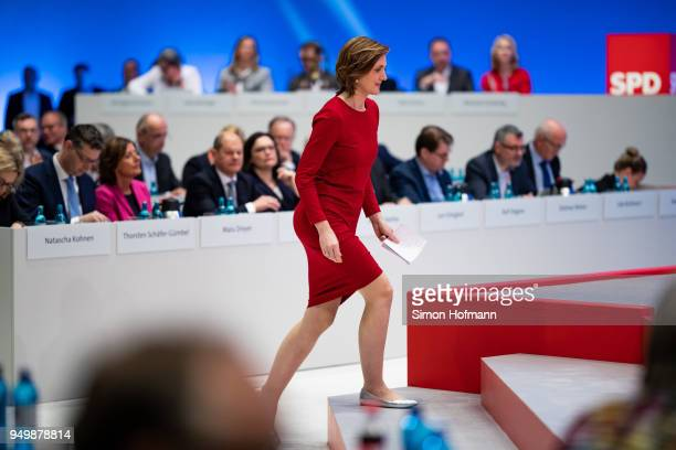 Simone Lange walks on stage to speak at the SPD federal party congress on April 22 2018 in Wiesbaden Germany Delegates will vote on a new party...