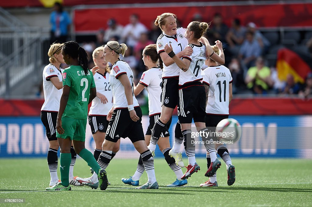 Simone Laudehr of Germany celebrates with team mates as she scores the seventh goal during the FIFA Women's World Cup Canada 2015 Group B match between Germany and Cote D'Ivoire at Lansdowne Stadium on June 7, 2015 in Ottawa, Canada.