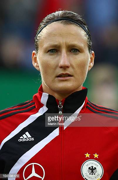 Simone Laudehr of Germany poses prior to the Women's International Friendly match between Germnay and Canada at Rudolf Harbig stadium on September...