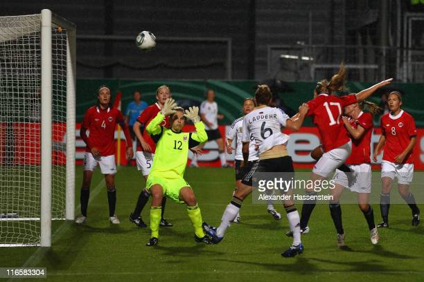 Simone Laudehr of Germany scores the opening goal during the women's international friendly match between Germany and Norway at Bruchweg Stadium on...