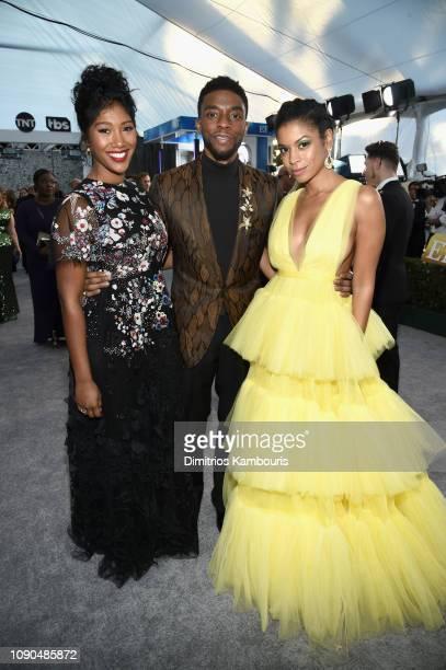Simone Ledward Chadwick Boseman and Susan Kelechi Watson attend the 25th Annual Screen ActorsGuild Awards at The Shrine Auditorium on January 27...