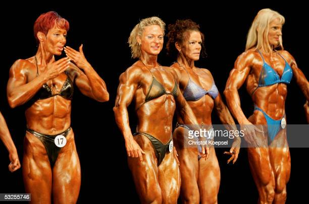 Simone Linay of Germany poses together with other bodybuilders in the class of ladies heavyweight upwards of 52 kilogram during the World Games 2005...