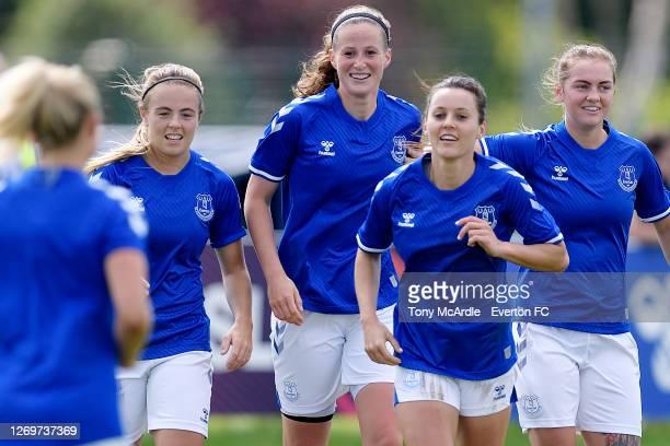 Simone Magill Nicoline Sorensen Haley Raso and Lucy Graham of Everton Women during the Everton Women v Durham Women Pre-Season Friendly match at...