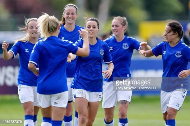 Simone Magill Nicoline Sorensen Haley Raso Lucy Graham and Maeva Clemaron of Everton Women during the Everton Women v Durham Women Pre-Season...