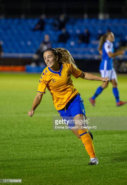 Simone Magill of Everton celebrates scoring her team's first goal during the Vitality Women's FA Cup Semi Final match between Birmingham City and...