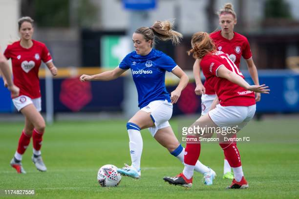 Simone Magill of Everton on the ball during the Barclays FA Women's Super League match between Everton and Bristol City at Haig Avenue on September...