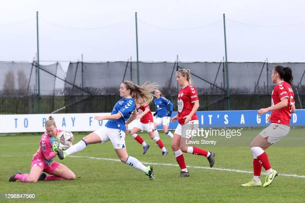 Simone Magill of Everton scores their team's second goal during the Barclays FA Women's Super League match between Everton Women and Bristol City...