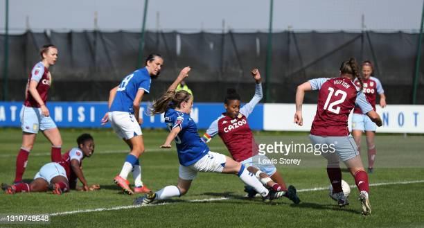 Simone Magill of Everton scores their team's third goal during the Barclays FA Women's Super League match between Everton Women and Aston Villa Women...