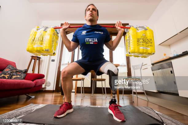 Simone Manigrasso trains in isolation on April 23, 2020 in Monza, Italy. The sprinter holds the italian records for 100 400 meters, the 4X100 meters...