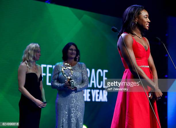 Simone Manuel accepts her Golden Goggles award for the Female Race of the Year at the 2016 Golden Goggles Awards at the Marriott Marquis Hotel on...