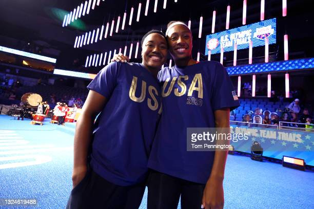 Simone Manuel and Natalie Hinds of the United States Olympic women's Swimming team react during Day Eight of the 2021 U.S. Olympic Team Swimming...
