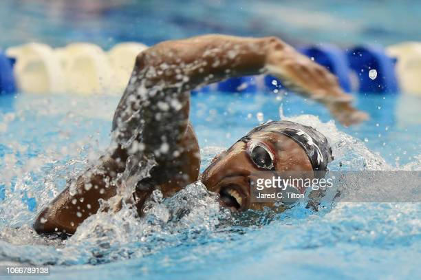 Simone Manuel competes in the Women's 200m Freestyle heats during the Swimming Winter National Championships at the Greensboro Aquatic Center on...
