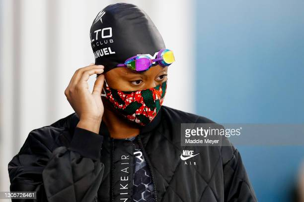 Simone Manuel looks on after competing in the Women's 50 Meter Freestyle Final on Day Four of the TYR Pro Swim Series at San Antonio on March 06,...