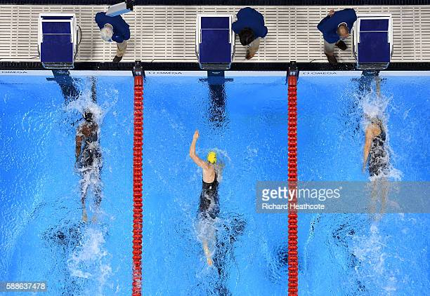 Simone Manuel of the United States and Penny Oleksiak of Canada tie for the gold medal in the Women's 100m Freestyle Final on Day 6 of the Rio 2016...