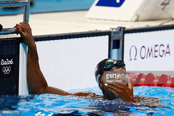 Simone Manuel of the United States celebrates winning gold in the Women's 100m Freestyle Final on Day 6 of the Rio 2016 Olympic Games at the Olympic...