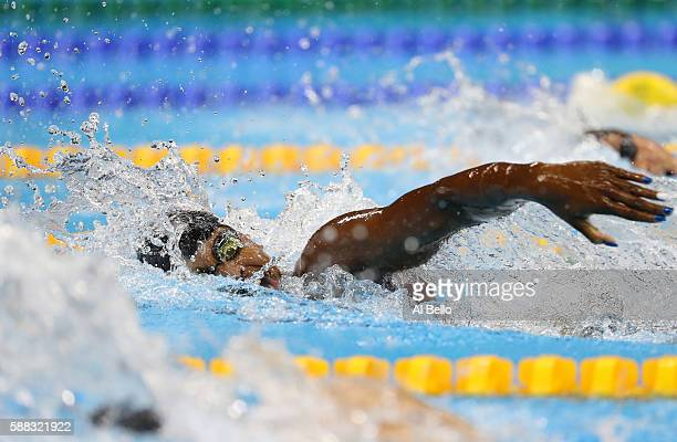 Simone Manuel of the United States competes in the first Semifinal of the Women's 100m Freestyle on Day 5 of the Rio 2016 Olympic Games at the...