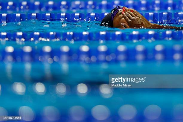 Simone Manuel of the United States reacts after competing in the Women's 50m freestyle final during Day Eight of the 2021 U.S. Olympic Team Swimming...