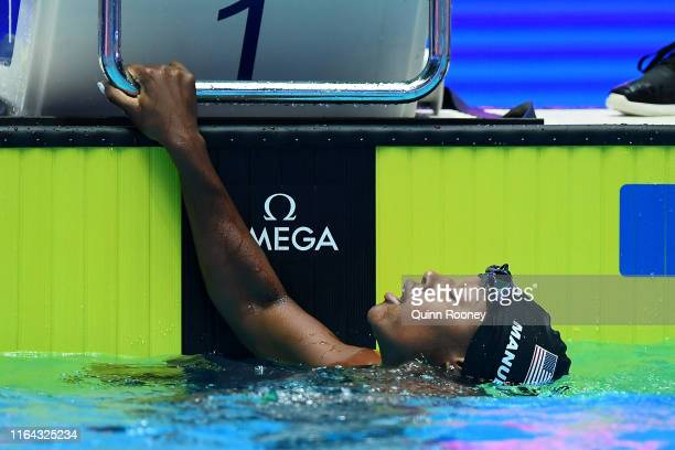 Simone Manuel of the United States reacts after the Women's 100m Freestyle Final on day six of the Gwangju 2019 FINA World Championships at Nambu...