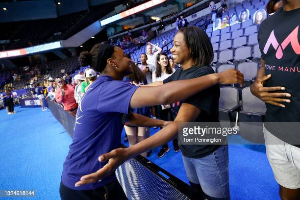 Simone Manuel of the United States reacts during Day Eight of the 2021 U.S. Olympic Team Swimming Trials at CHI Health Center on June 20, 2021 in...