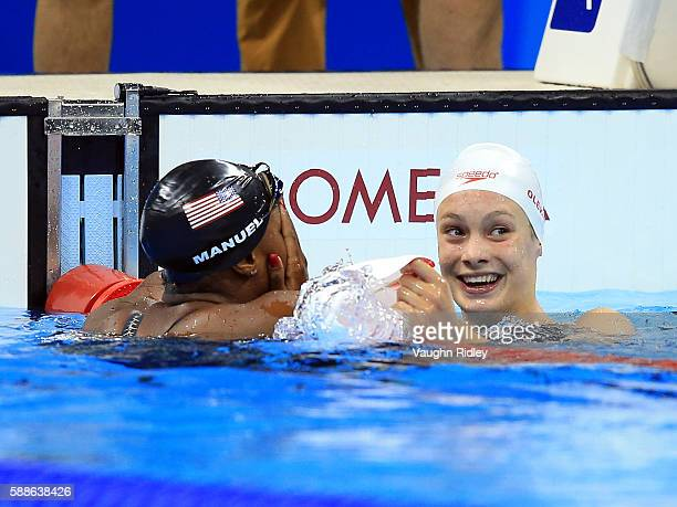 Simone Manuel of the USA and Penny Oleksiak of Canada win joint Gold in the Women's 100m Freestyle Final on Day 6 of the Rio 2016 Olympic Games at...