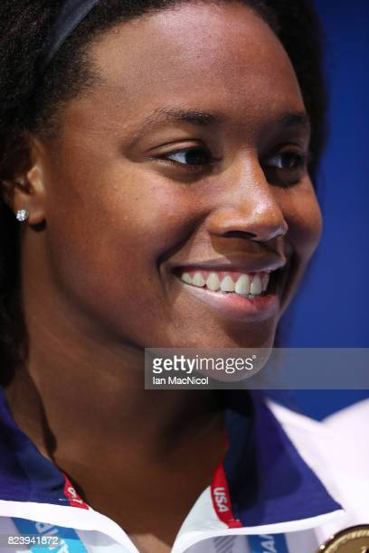Simone Manuel of United States is seen after she wins the Women's 100m Freestyle during day fiifteen of the FINA World Championships at the Duna...