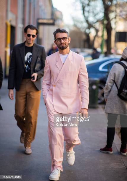 Simone Marchetti is seen wearing pink suit outside Fendi during Milan Menswear Fashion Week Autumn/Winter 2019/20 on January 14 2019 in Milan Italy