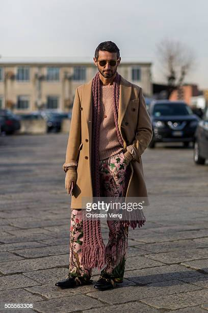 Simone Marchetti outside Gucci during Milan Men's Fashion Week Fall/Winter 2016/17 on January 18 in Milan Italy