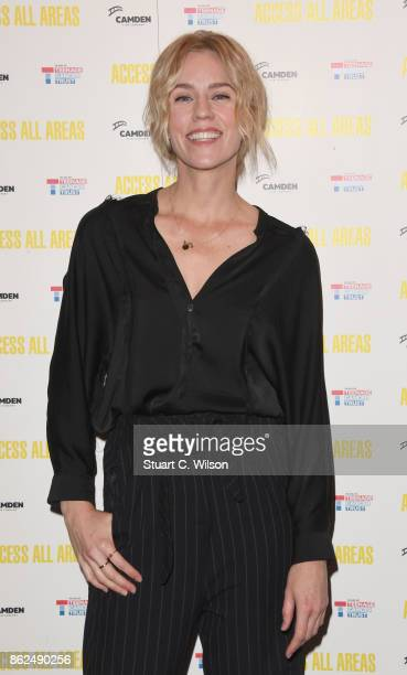 Simone Mcaullay arrives at the 'Access All Areas' VIP gala screening held at Proud Camden on October 17, 2017 in London, England.