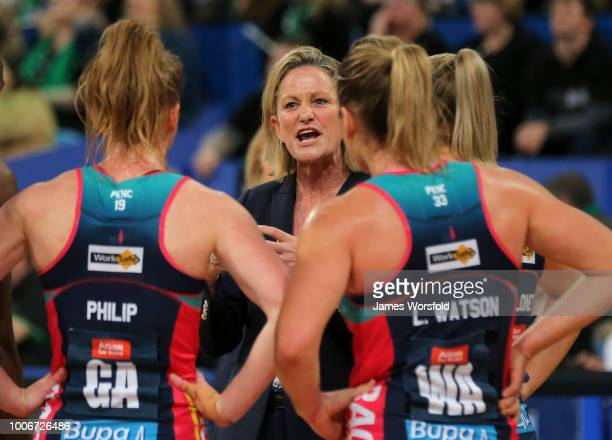 Simone McKinnis coach of the Melbourne Vixens talks to her players during a timeout in the 2nd quarter during the round 13 Super Netball match...