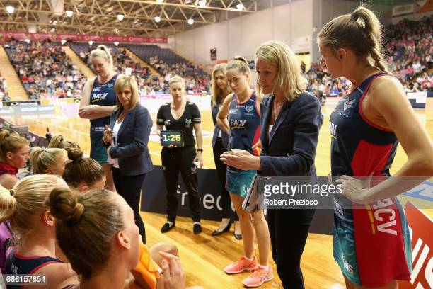 Simone McKinnis coach of the Vixens speaks during the round eight Super Netball match between the Thunderbirds and the Vixens at Priceline Stadium on...