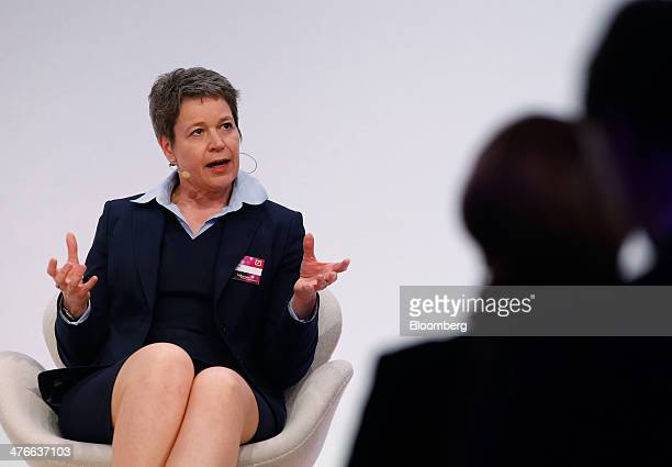 Simone Menne chief financial officer of Deutsche Lufthansa AG gestures as she speaks during the Deutsche Bank AG 'Women in European Business'...