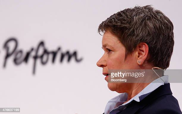 Simone Menne chief financial officer of Deutsche Lufthansa AG speaks during the Deutsche Bank AG 'Women in European Business' conference in Frankfurt...