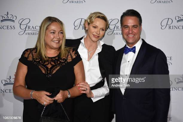 Simone Mets HSH Princess Charlene of Monaco and James Mets attend the 2018 Princess Grace Awards Gala at Cipriani 25 Broadway on October 16 2018 in...