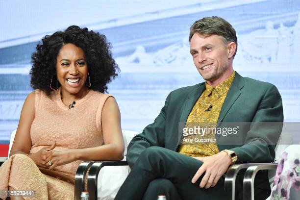 Simone Missick and Wilson Bethel of All Rise speak during the CBS segment of the 2019 Summer TCA Press Tour at The Beverly Hilton Hotel on August 1...