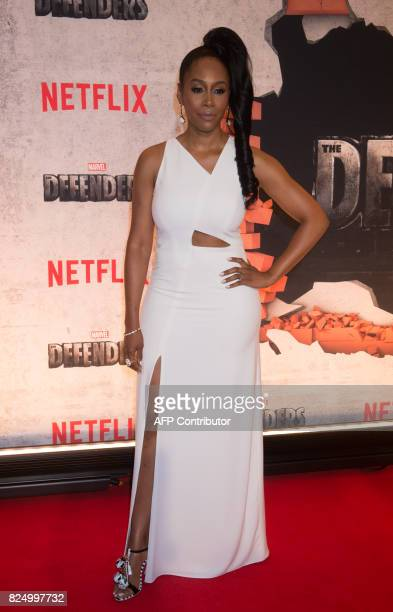 Simone Missick arrives for the Netflix premiere of Marvel's 'The Defenders' on July 31 2017 in New York / AFP PHOTO