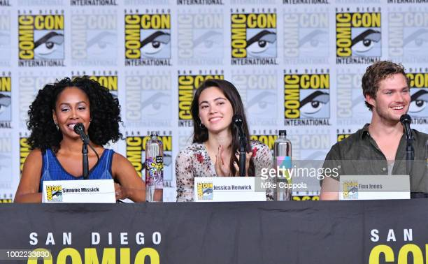 Simone Missick Jessica Henwick and Finn Jones speak onstage at Netflix Marvel's Iron Fist during ComicCon International 2018 at San Diego Convention...
