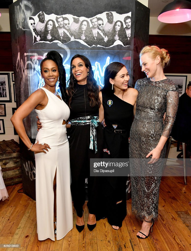 Simone Missick, Rosario Dawson, Jessica Henwick, and Deborah Ann Woll attend the 'Marvel's The Defenders' New York Premiere - After Party at The Standard Biergarten on July 31, 2017 in New York City.