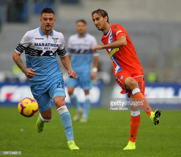 Simone Missiroli of Spal competes for the ball with Sergej Milinkovic of SS Lazio during the Serie A match between SS Lazio and SPAL at Stadio...