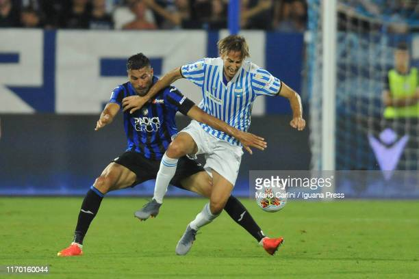 Simone MIssiroli of SPAL in action during the Serie A match between SPAL and Atalanta BC at Stadio Paolo Mazza on August 25, 2019 in Ferrara, Italy.