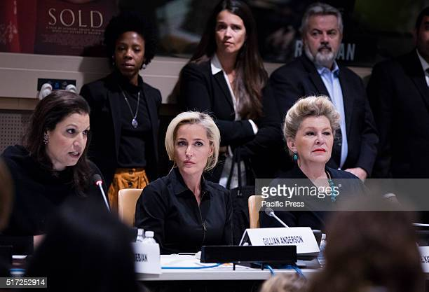 Simone Monasebian Director UNODC New York Office Awardwinning actress Gillian Anderson and Ambassador Katalin Bogyay from Hungary participated on a...