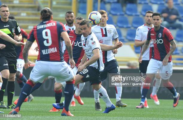 Simone Padoin of Cagliari in action during the Serie A match between Bologna FC and Cagliari at Stadio Renato Dall'Ara on March 10 2019 in Bologna...