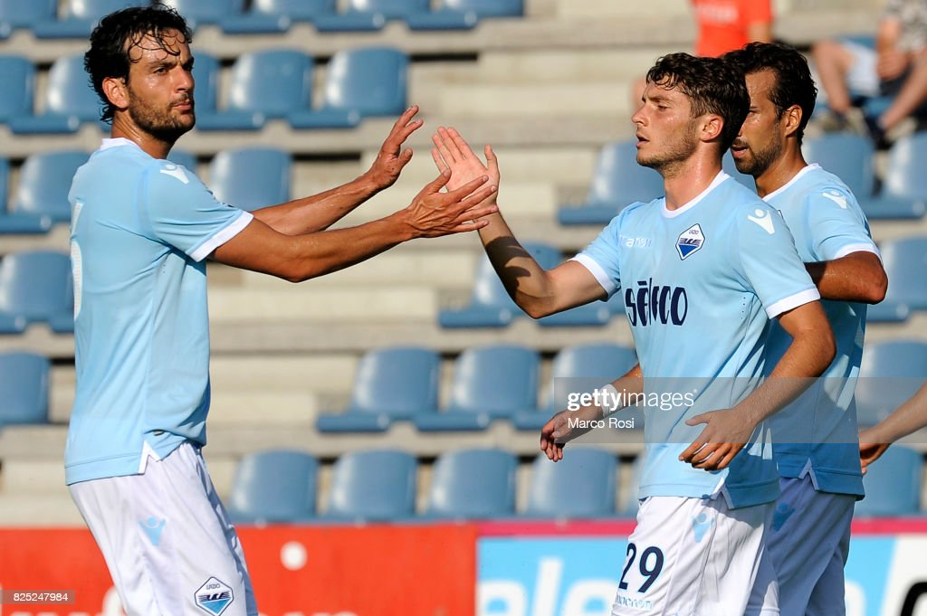 Simone Palombi (R) of SS Lazio celebrates a scoring with his team mate during the pre-season friendly match between SS Lazio and F.C Kufstein on August 1, 2017 in Kufstein, Austria.