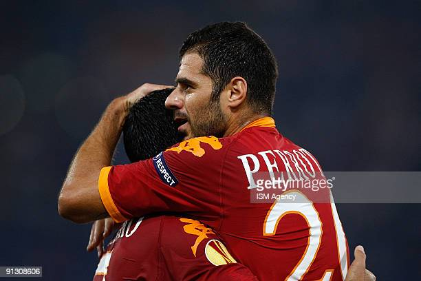 Simone Perrotta and David Pizarro of AS Roma celebrate the second goal during the UEFA Europa League Group E match between AS Roma and PFC CSKA...