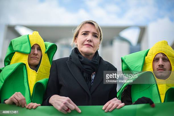 Simone Peter Party coleader of the German Greens Party delivers a statement in front the chancellory ahead of the decision to vote on genetically...