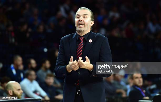 Simone Pianigiani Head Coach of AX Armani Exchange Olimpia Milan in action during the 2017/2018 Turkish Airlines EuroLeague Regular Season game...