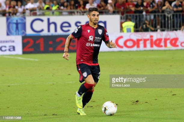 Simone Pinna of Cagliari in action during the Serie A match between Cagliari Calcio and Brescia Calcio at Sardegna Arena on August 25 2019 in...