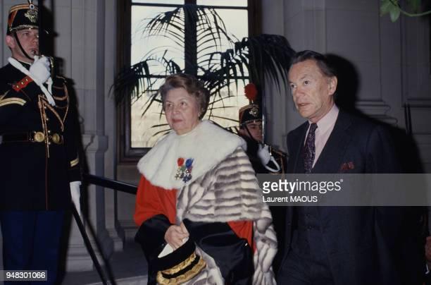 Simone Rozès et Albin Chalandon ministre de la Justice lors de l'audience solennelle de rentrée des cours d'appel et de Cassation le 6 janvier 1988 à...