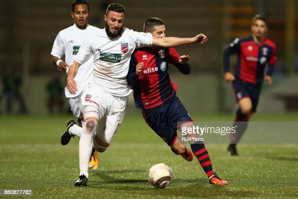Simone Sales of Teramo Calcio 1913 compete for the ball with Francesco Rapisarda of SS Sambenedettese during the Lega Pro 17/18 group B match between...